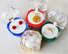 Newest colorful transparent rings earrings jewelry box manufacturer