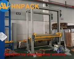 Pallet Stretch Wrapper With Top Foil Applicator For pallet top Film Cover