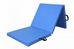 PU Leather Gymnastics Mat Folding Tumbling Tri-Fold Mats Gym Pad