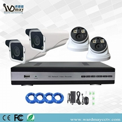 4chs H. 265 1080P Full Color in Day & Night Poe IP Camera Systems