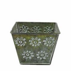 Galvanized iron flower pot for gardening