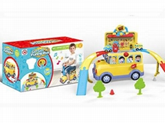 Funny Bus Track Toy Set with Light and Music for Kids