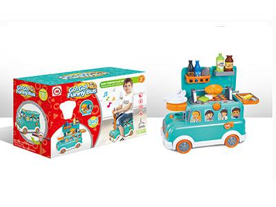 Funny Bus BBQ Toy Set with Light and Music for Kids 1