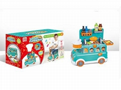 Funny Bus BBQ Toy Set with Light and Music for Kids