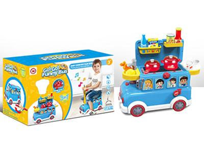 Funny Bus Cooking Toy Set with Light and Music for Kids 1