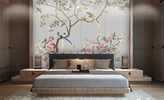 花开富贵喷绘硬包背景墙