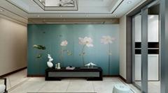 軟包碧天蓮葉刺繡硬包背景牆壁畫