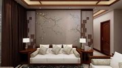 軟包初春色刺繡硬包背景牆壁畫