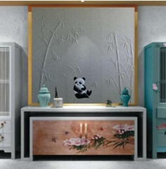 軟包熊貓動物浮雕硬包背景牆刺繡