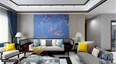 軟裝魚躍龍門硬包刺繡沙發客廳背景牆