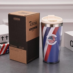 Double Layer Plastic Thermal Tumbler With Lid 14oz