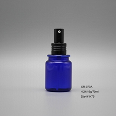 70cc blue PETG plastic spray liquid round perfume cosmetic bottle