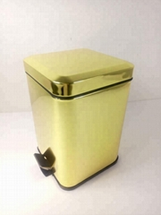 Luxurious Gold Stainless Steel Foot Pedal Dust Bin