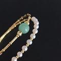High quality 14k gold filled jade double-deck elastic freshwater pearl bracelet