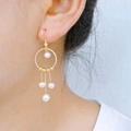 Pure handmade 14k Gold Filled freshwater pearl pendant hook earrings S925 si  er