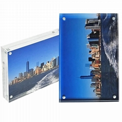 Clear Acrylic Magnetic Photo Frame Block 3x4 inches Picture Display Desktop Book