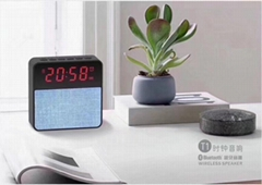 Fabrics clock display bluetooth speaker