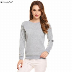 Sweatshirt Women Casual Women Sweatshirts Long Sleeve Solid Fleece Pullovver