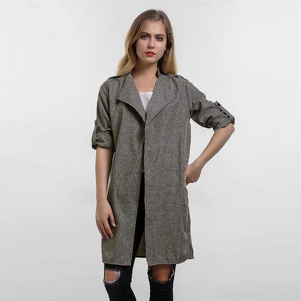 Women Coats Fashion Solid Outerwear Casual Lapel Windbreaker Cape Coats 1