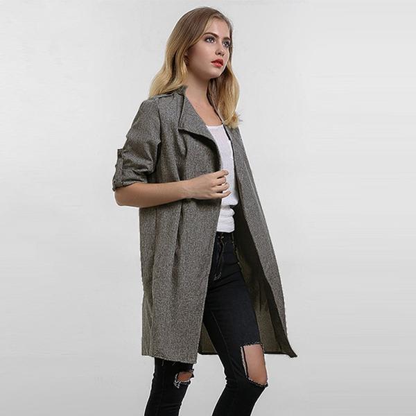 Women Coats Fashion Solid Outerwear Casual Lapel Windbreaker Cape Coats 2