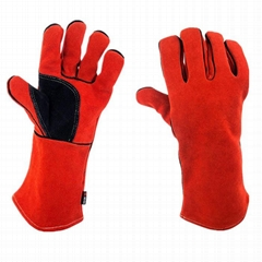 Red Cow Split Working Gloves Double Palm Heat Resistant Welding Safety Gloves wi