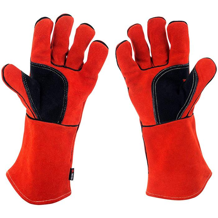 Red Cow Split Working Gloves Double Palm Heat Resistant Welding Safety Gloves wi 2