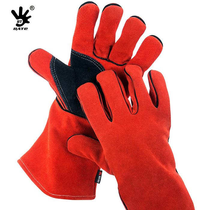Red Cow Split Working Gloves Double Palm Heat Resistant Welding Safety Gloves wi 3