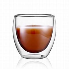 7oz Custom New Design Handmade Borosilicate Double Wall Glass Coffee Mug for Esp