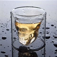 Hot Selling Double Wall Clear Drinking Skull Glass Coffee Mugs for Whiskey Beer