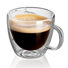 Custom Design Double Wall Drinking Glass Cup Coffee Mug with Handle