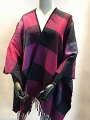 acrylic doubleface woven poncho