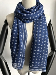 100% modal monochrome flower with border printed scarf