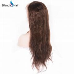 Straight #4 Silk Base Full Lace Wigs Brazilian Human Hair