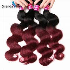 Brazilian 3 Bundles Ombre Hair Body Wave Human Hair Weft #1B-99J
