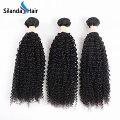Kinky Curly #1B Brazilian Human Hair Weave Bundles Curly Wave