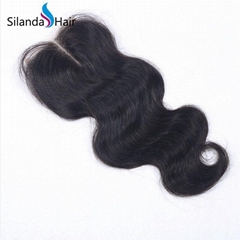 "Pure 100% Brazilian Virgin Remy Human Hair 4""X4"" Lace Closure #1B Body Wave"