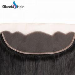 "Pure 100% Brazilian Virgin Remy Human Hair 13""X4"" Lace Closure #1B Straight"