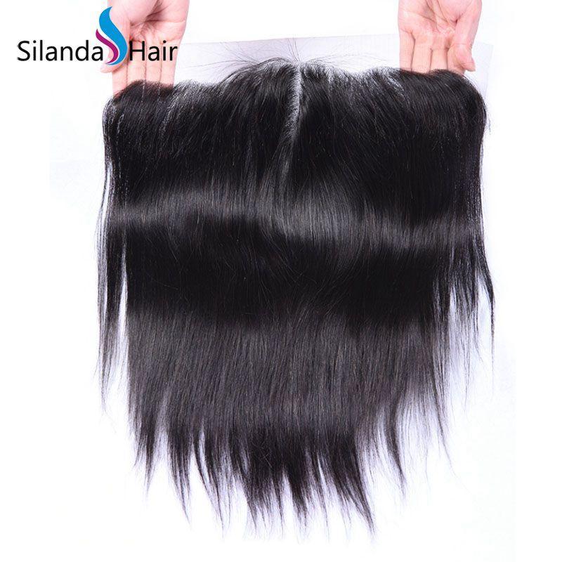"Brazilian Virgin Remy 100% Human Hair 13""X6"" Lace Closure #1B Straight 1"