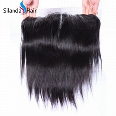 "Brazilian Virgin Remy 100% Human Hair 13""X6"" Lace Closure #1B Straight"