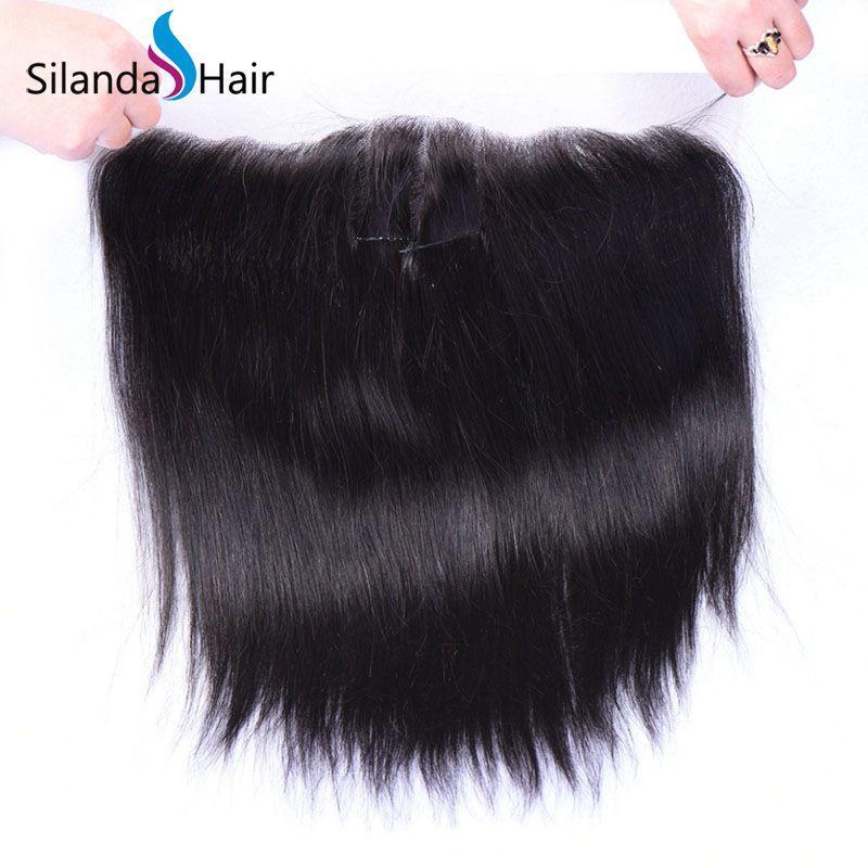 "Brazilian Virgin Remy 100% Human Hair 13""X6"" Lace Closure #1B Straight 2"