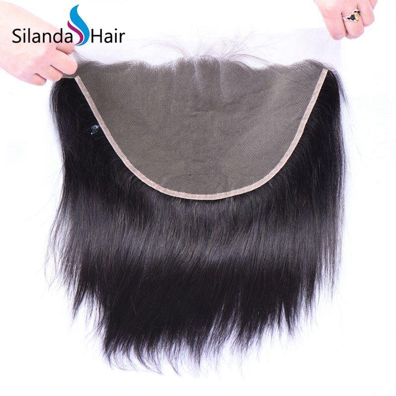 "Brazilian Virgin Remy 100% Human Hair 13""X6"" Lace Closure #1B Straight 3"