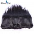 "Brazilian Virgin Remy 100% Human Hair 13""X6"" Lace Closure #1B Straight 4"