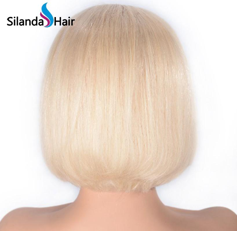 #613 Blonde Short Bob Straight Brazilian Remy Human Hair Lace Front Wigs 8 Inch 1