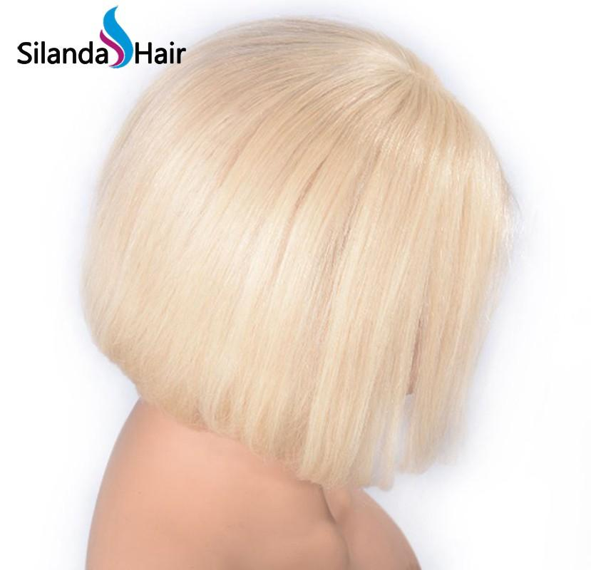 #613 Blonde Short Bob Straight Brazilian Remy Human Hair Lace Front Wigs 8 Inch 2