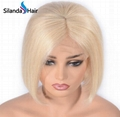 #613 Blonde Short Bob Straight Brazilian Remy Human Hair Lace Front Wigs 8 Inch 3