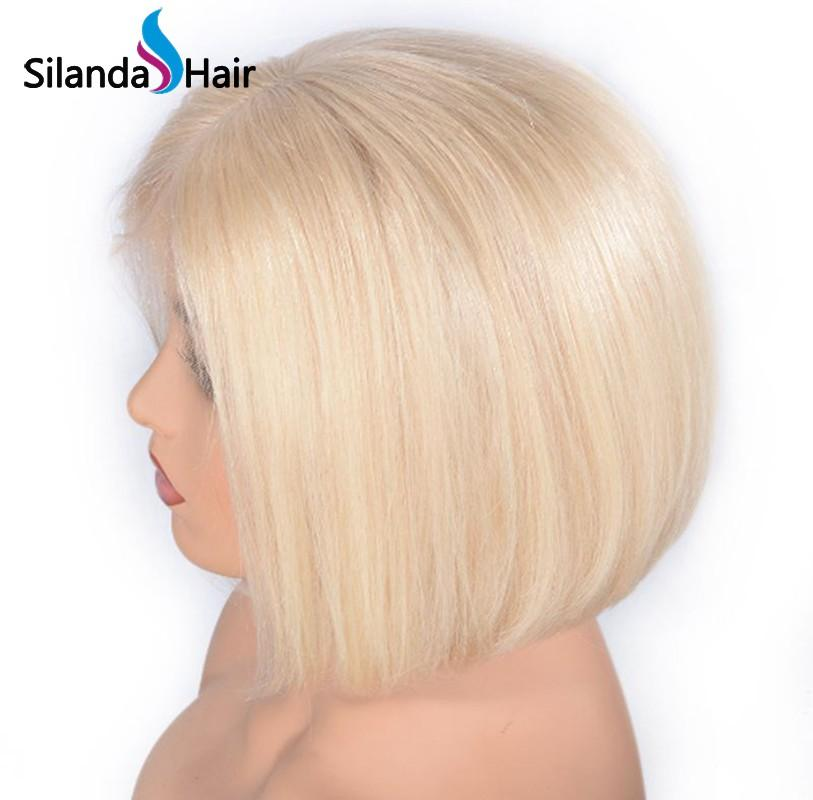#613 Blonde Short Bob Straight Brazilian Remy Human Hair Lace Front Wigs 8 Inch 4