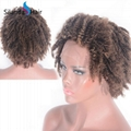 """#4-27 Curly Brazilian Remy Human Hair 12"""" Lace Frontal Wigs 5"""