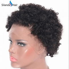 Afro Curly #1B Brazilian Remy Human Hair Full Lace Wigs