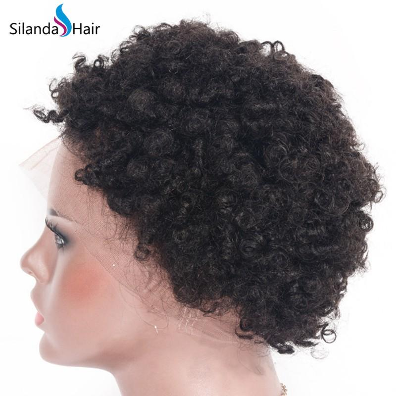 Afro Curly #1B Brazilian Remy Human Hair Full Lace Wigs 4