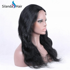 Nice #1B Body Wave Brazilian Remy Human Hair Lace Frontal Wigs